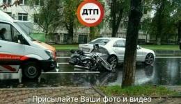 Мото ДТП с пострадавшими в Киеве на Воздухофлотском проспекте. 15.10.2017г.