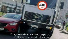 ДТП в Киеве около метро Левобережная. 10.04.2018
