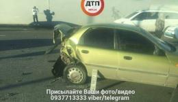 ДТП с пострадавшими в Киеве на Дарницком мосту: Daewoo практически всмятку. 25.01.2018