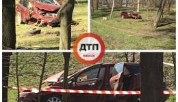 Вылетел в парк и уничтожился о деревья: дтп в Киеве на Набережной у моста Патона. 09.04.2018